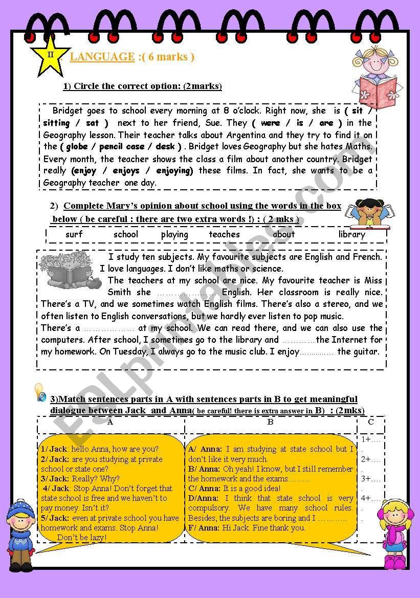 FULL TERM TEST N° 1 FOR 8TH BASIC EDUCATION ( part 2 )