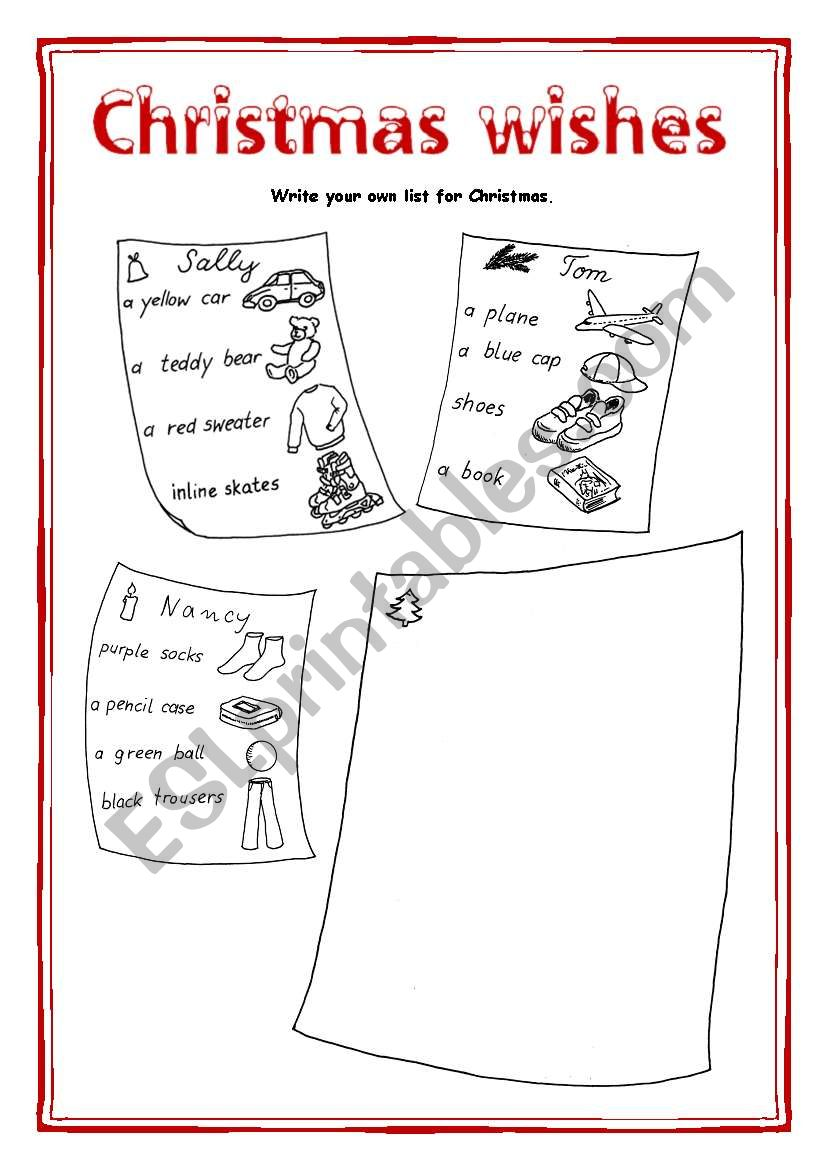 Christmas wishes worksheet