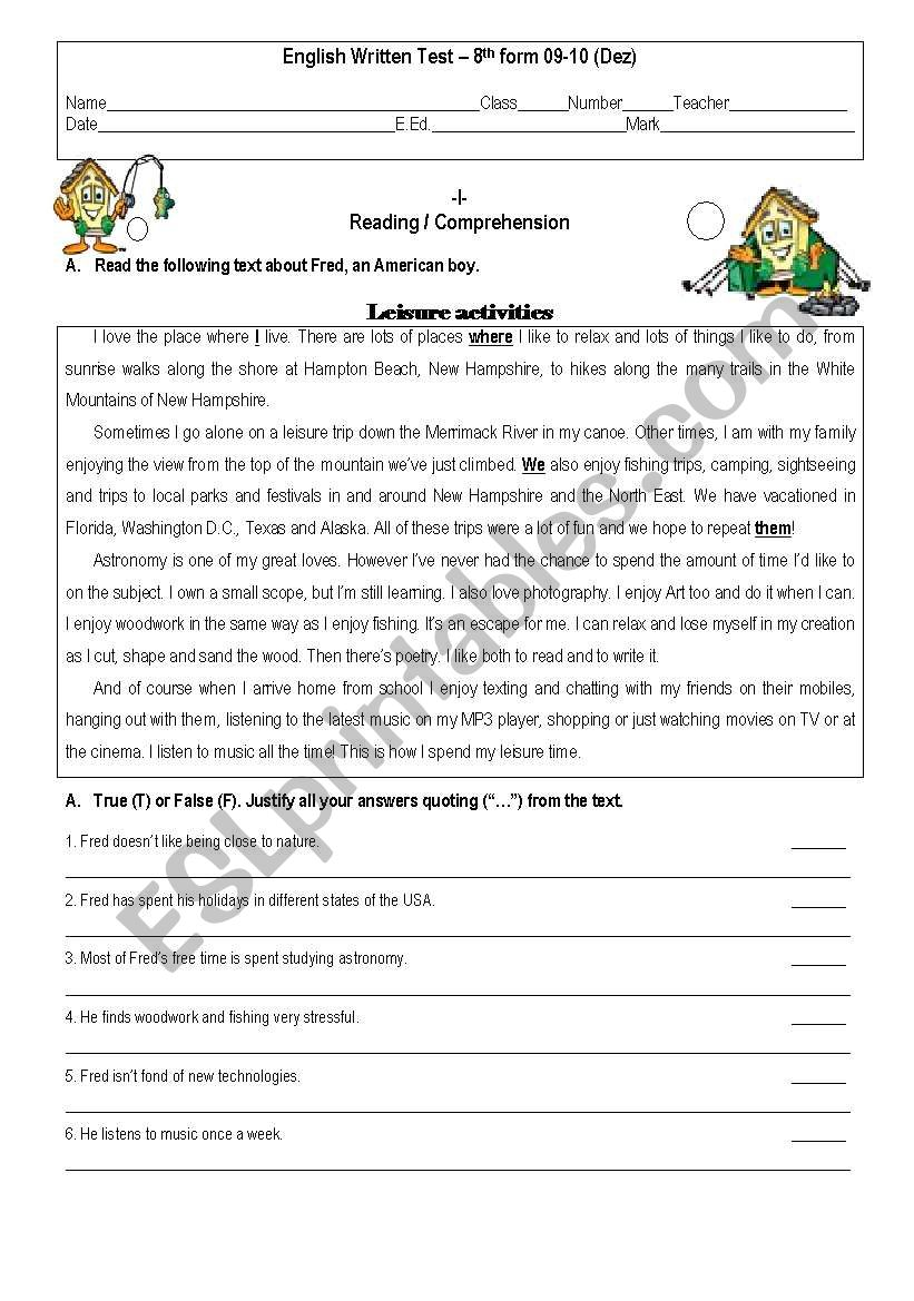 Test 8th Grade worksheet