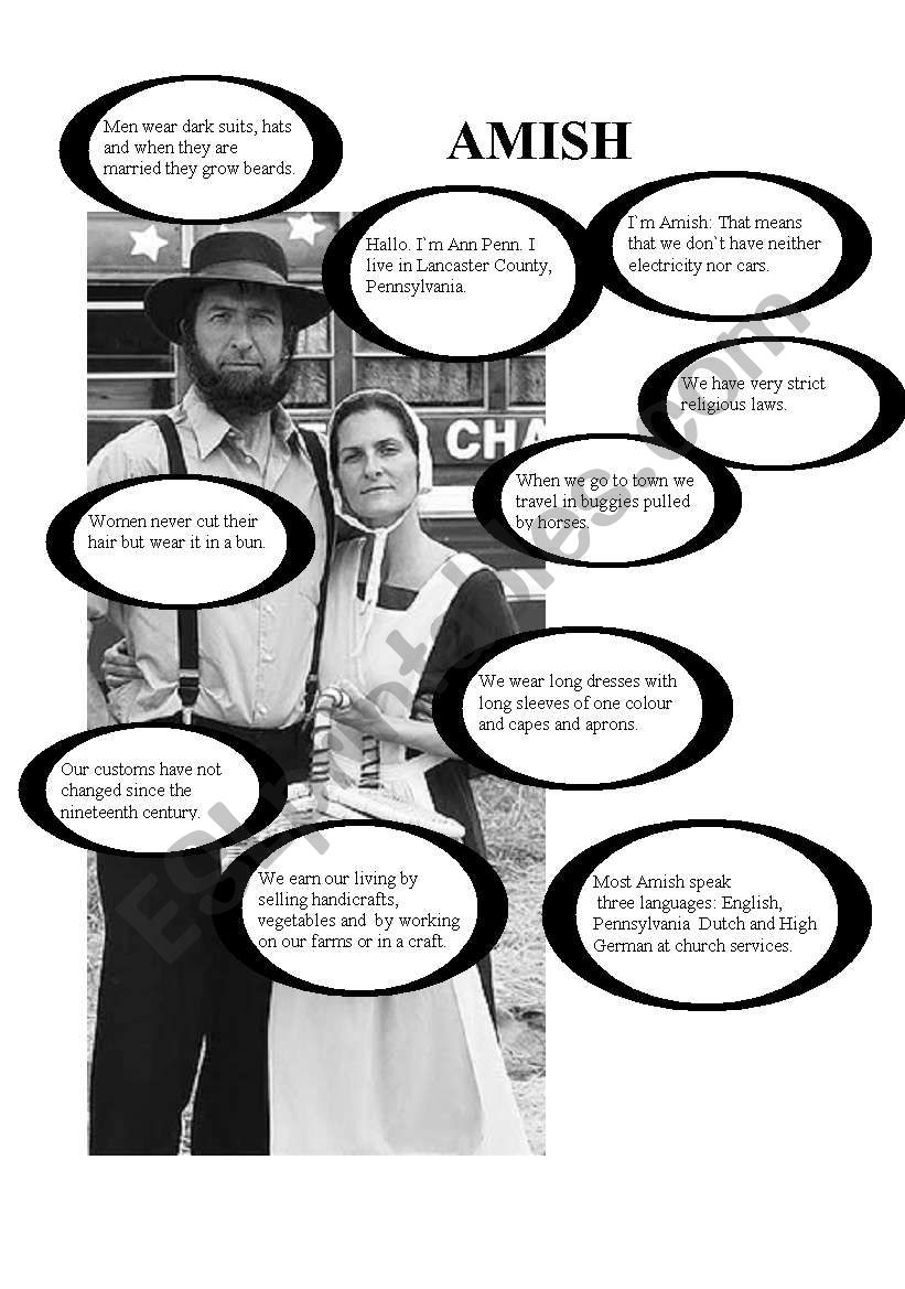 Introducing the Amish people worksheet