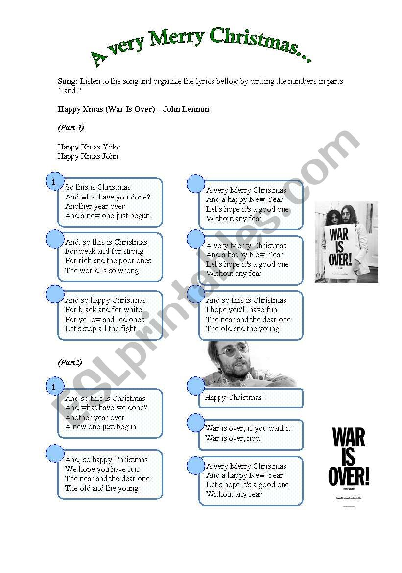 Song: Happy Xmas (War Is Over) - John Lennon - ESL worksheet by ...