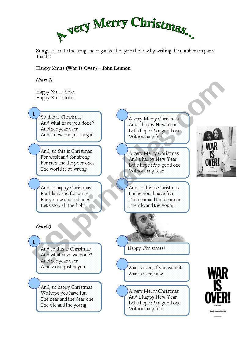 Song: Happy Xmas (War Is Over) - John Lennon - ESL worksheet by ...