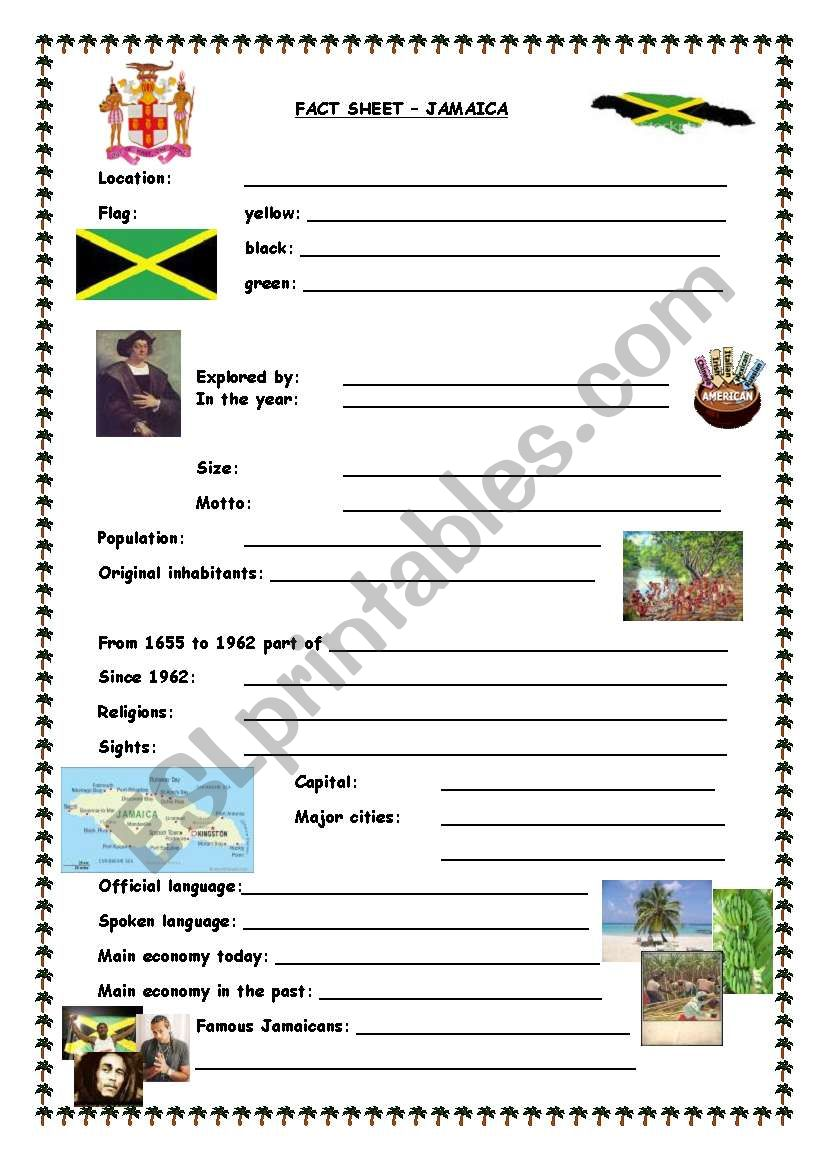 Fact sheet Jamaica worksheet