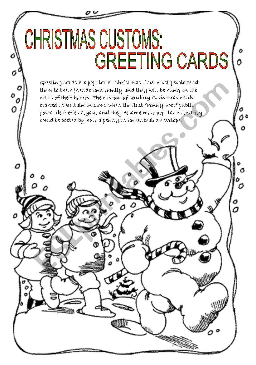 Christmas customs: greeting cards - ESL worksheet by Je suis papillon