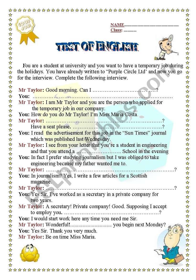 Interview worksheet