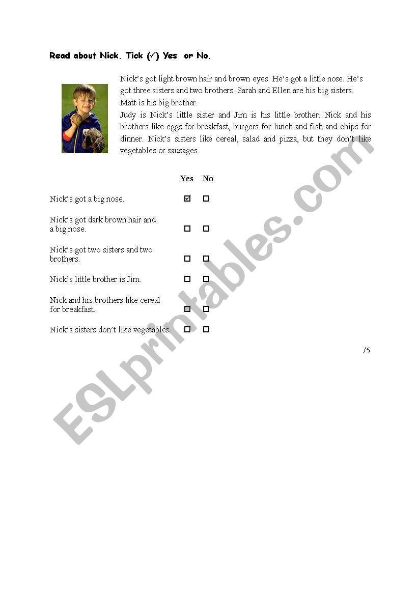 - Reading Comprehension-easy - ESL Worksheet By Rrkati