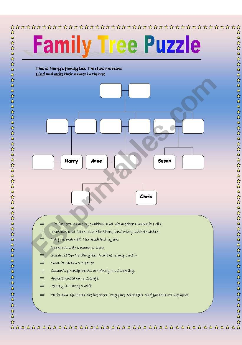 Family Tree Puzzle worksheet