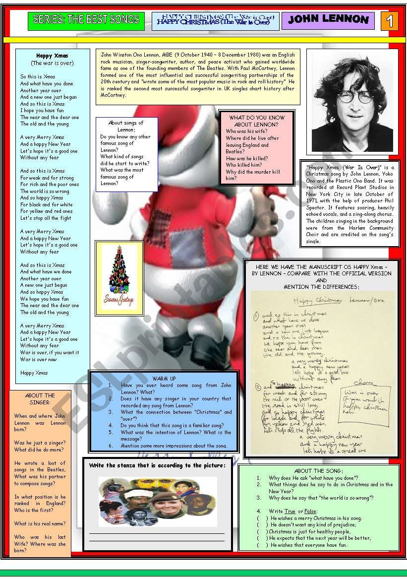 English worksheets: HAPPY XMAS (War Is Over) - JOHN LENNON - PART 01