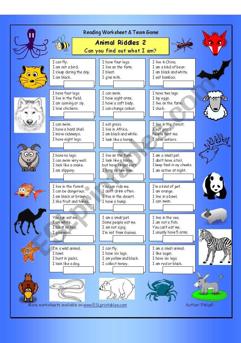 animal riddles 2 medium esl worksheet by philipr. Black Bedroom Furniture Sets. Home Design Ideas