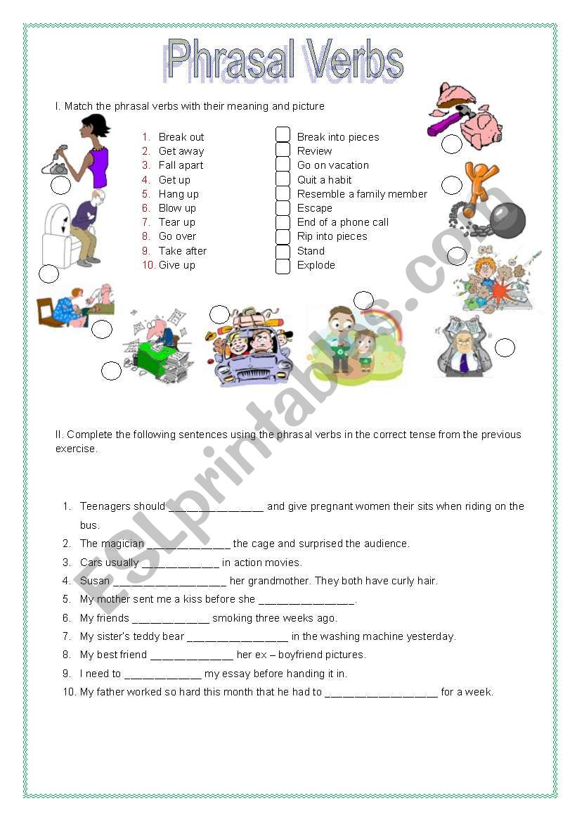 Phrasal Verbs. Color and B/W version.