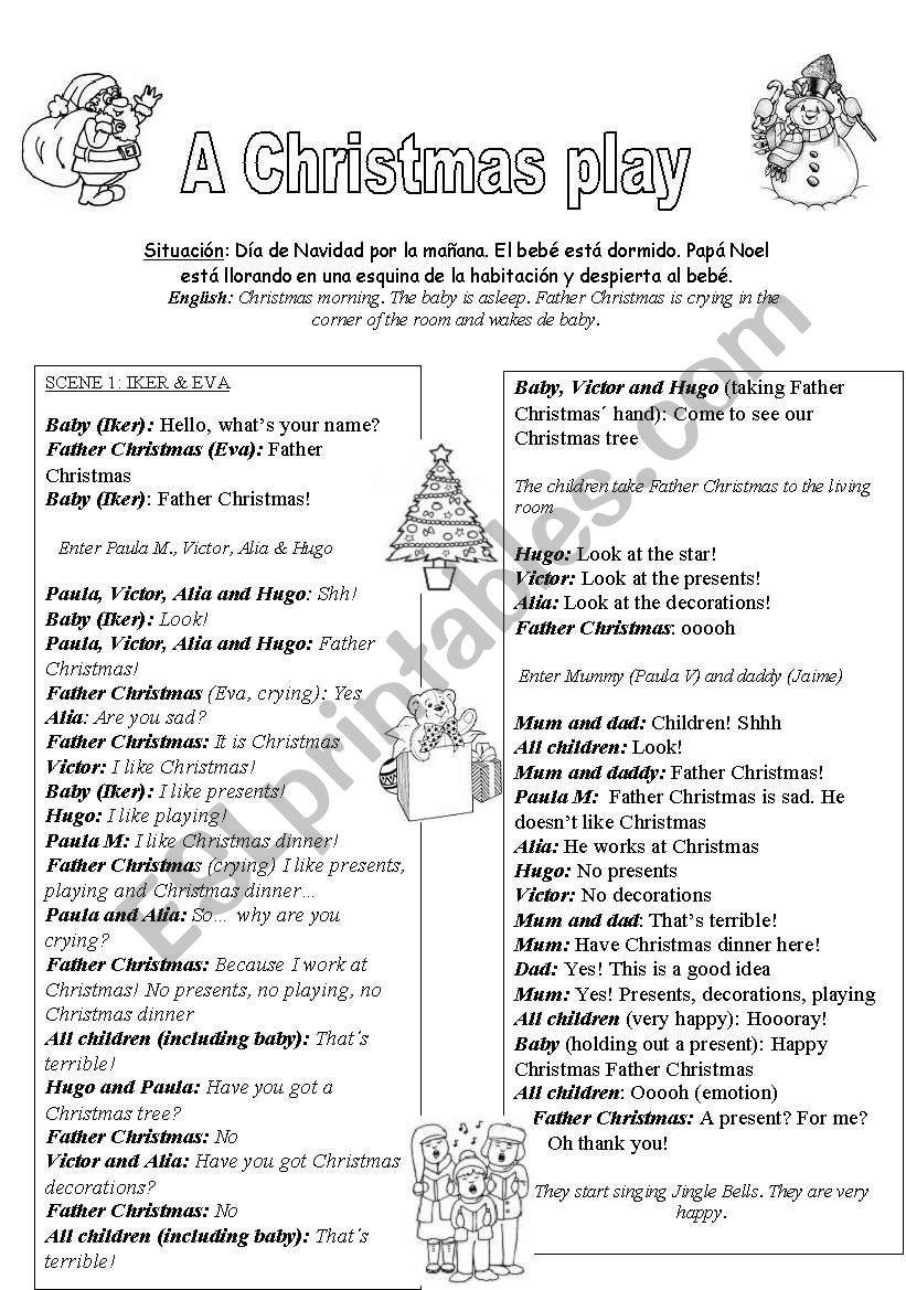 A Christmas Play (kids 3-6) - ESL worksheet by merywell
