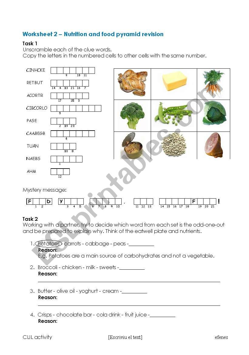 English worksheets: Nutrition and eatwell plate revision