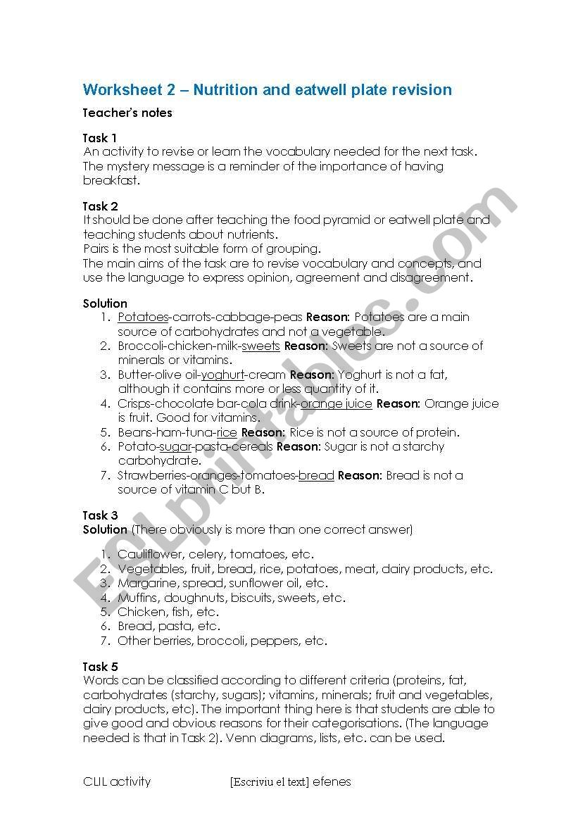 English Worksheets Nutrition And Eatwell Plate Revision Teaching Notes