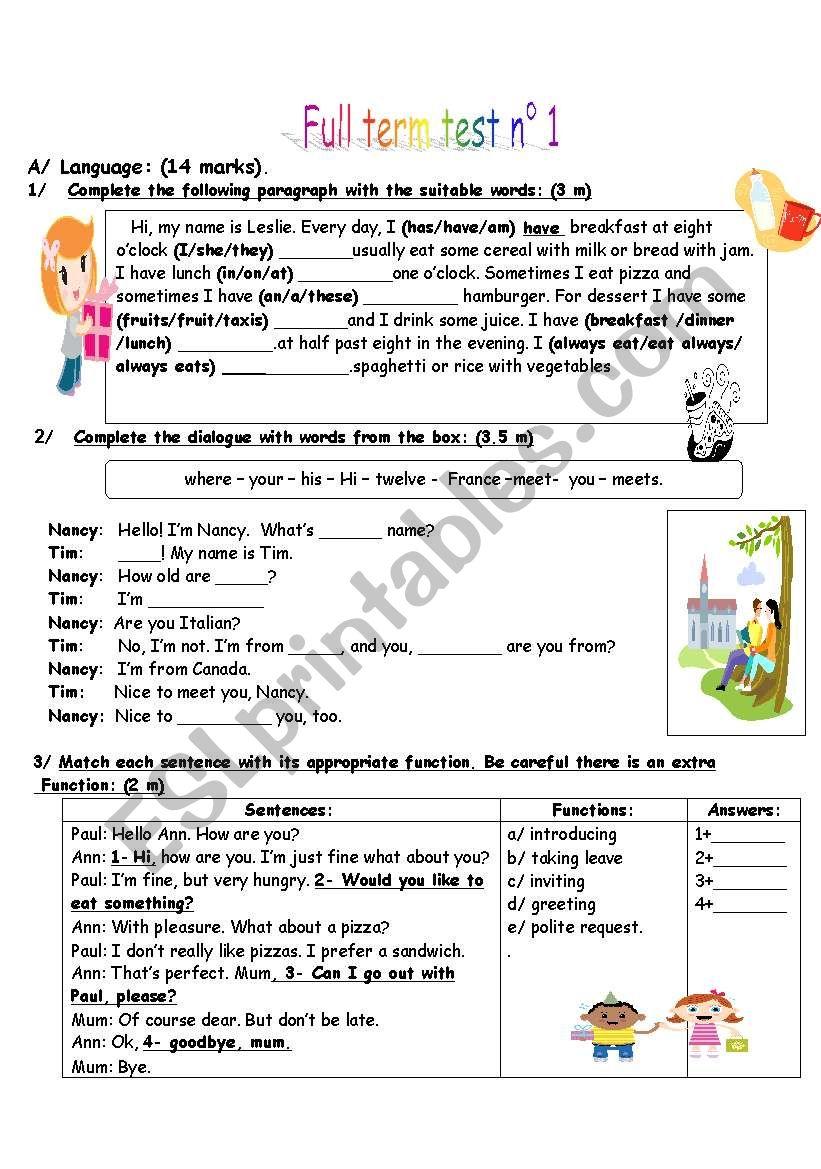 full term test n 1 worksheet