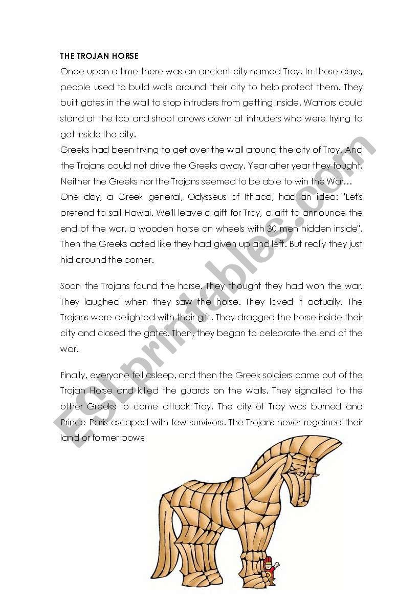 The Trojan Horse Esl Worksheet By Cabad
