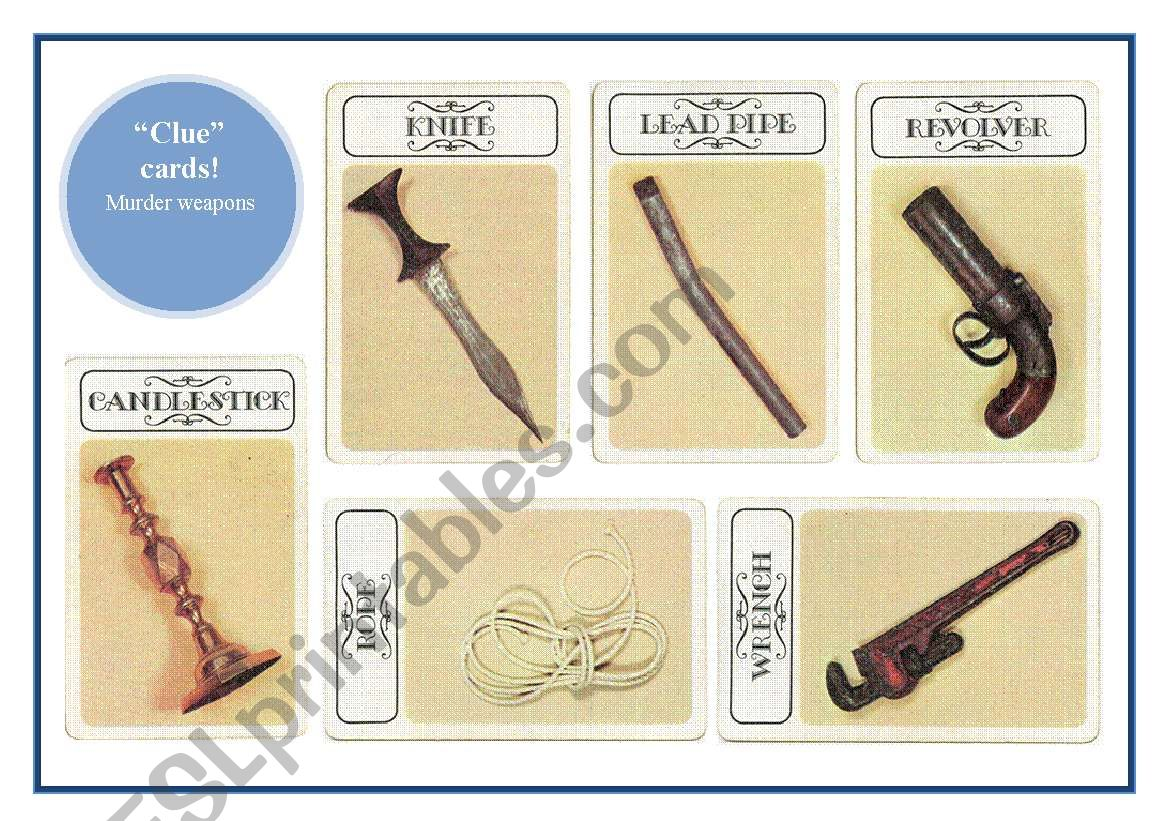 image regarding Clue Cards Printable identify Clue\