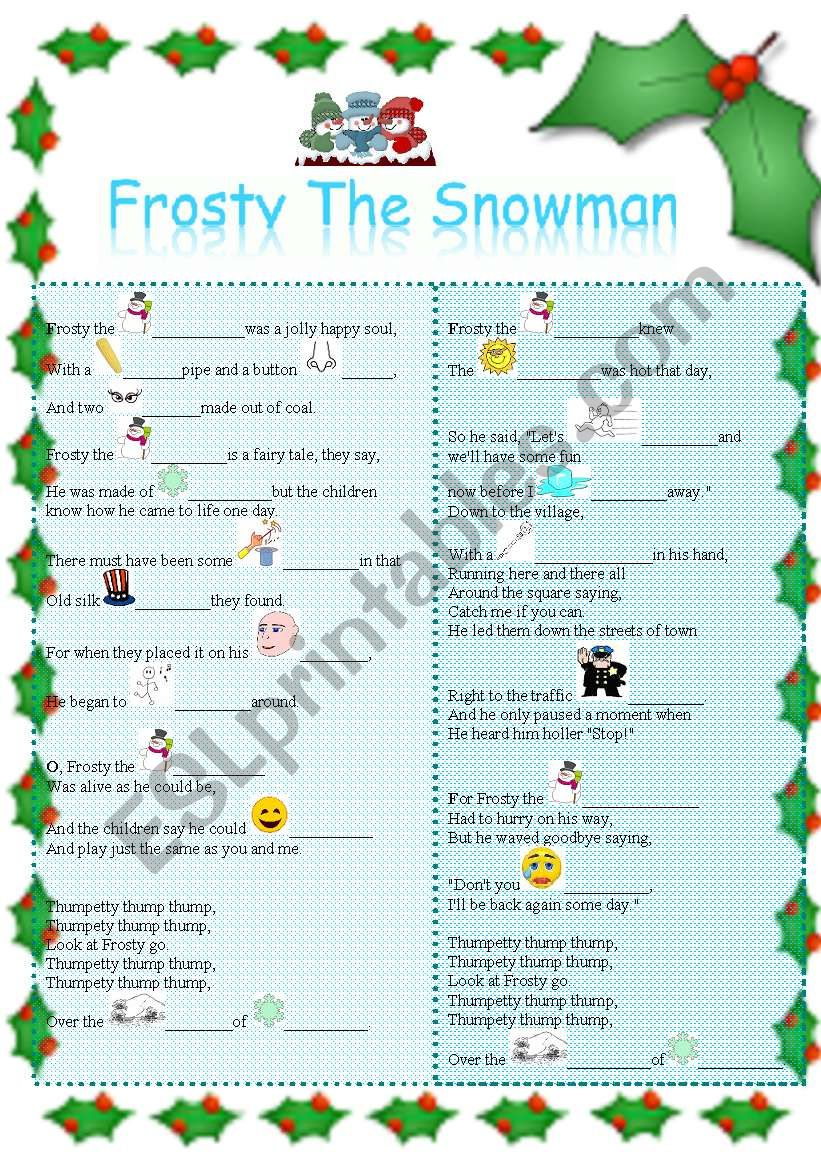 CHRISTMAS SONG - FROSTY THE SNOW MAN (Updated)