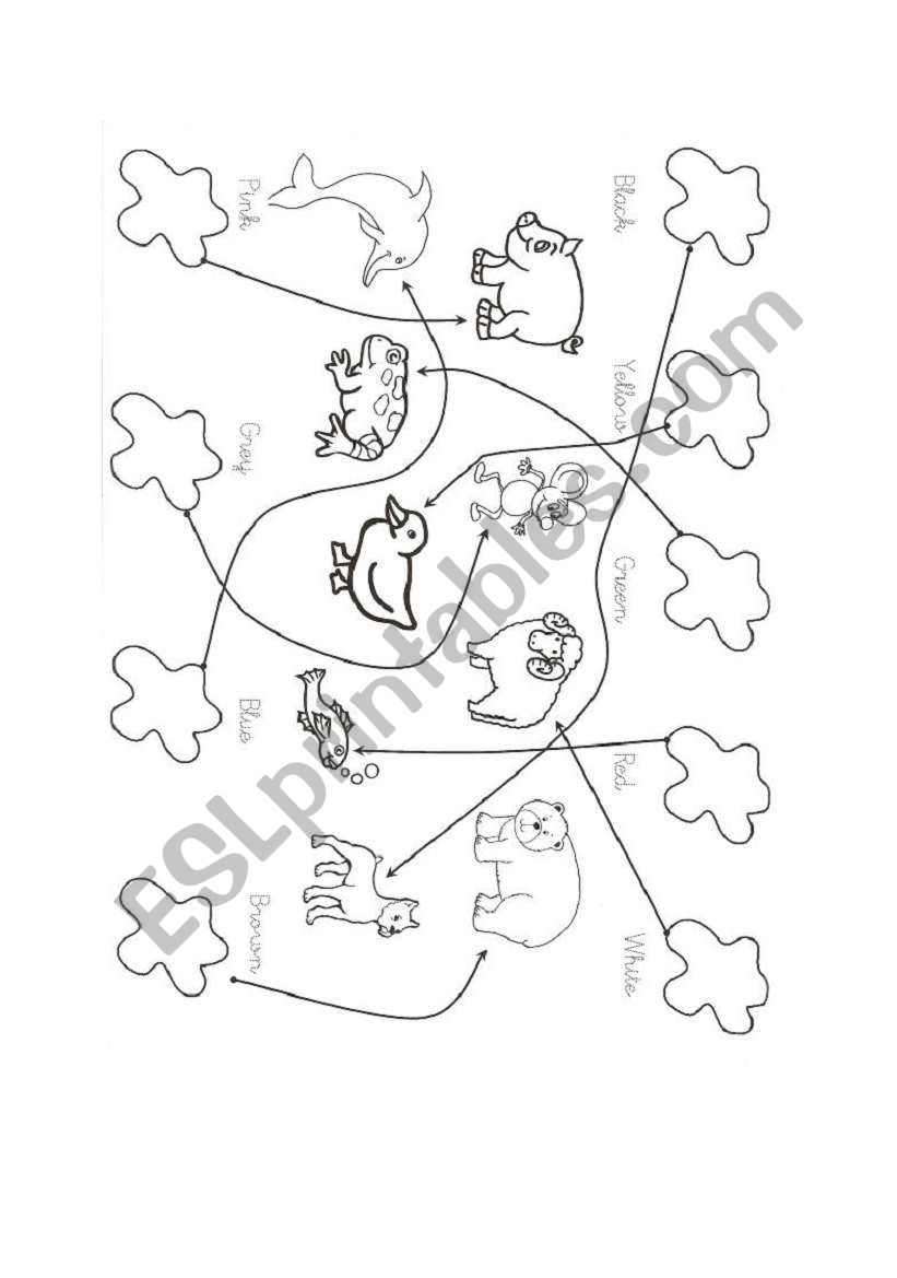 Animals and colours worksheet