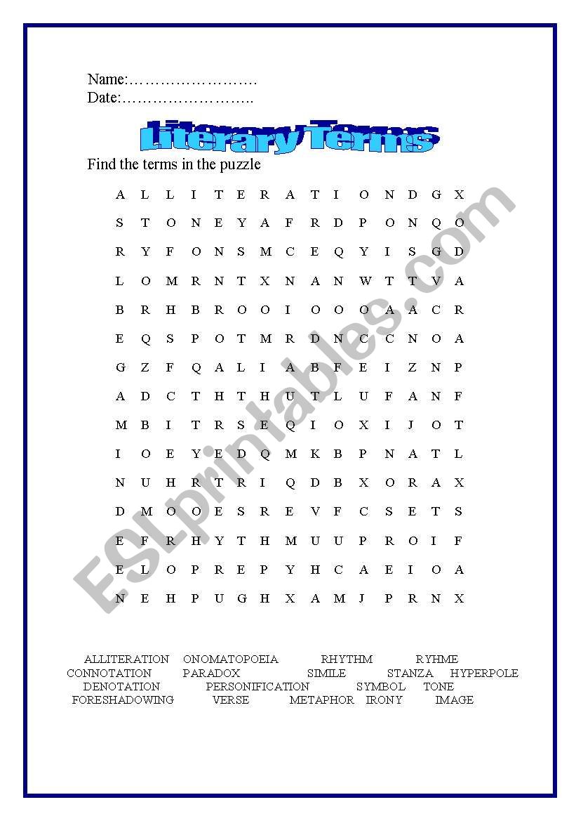 English Worksheets Literary Terms Puzzle