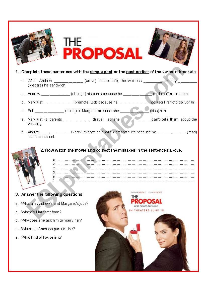 The proposal - Video Activity worksheet