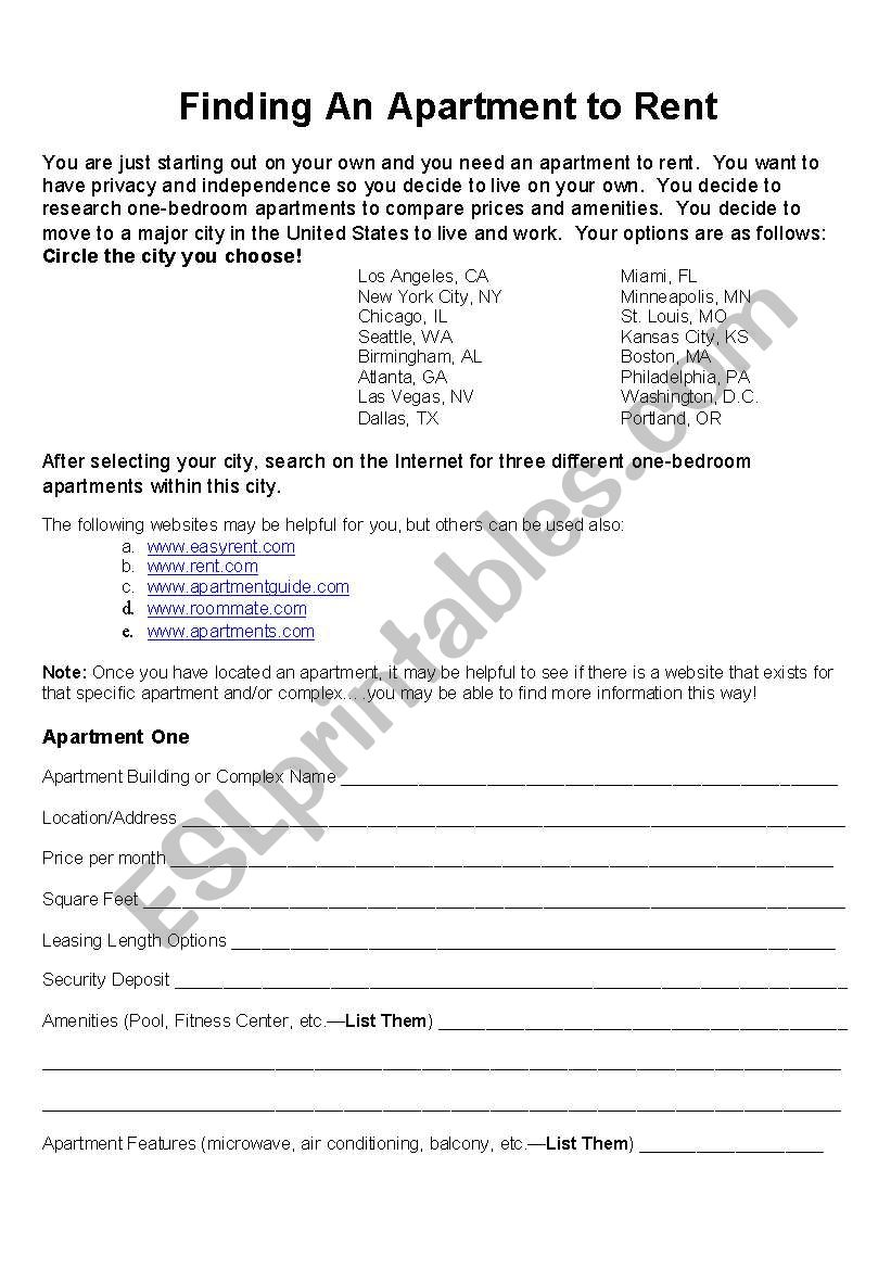 Finding an Apartment to Rent - ESL worksheet by klarson22