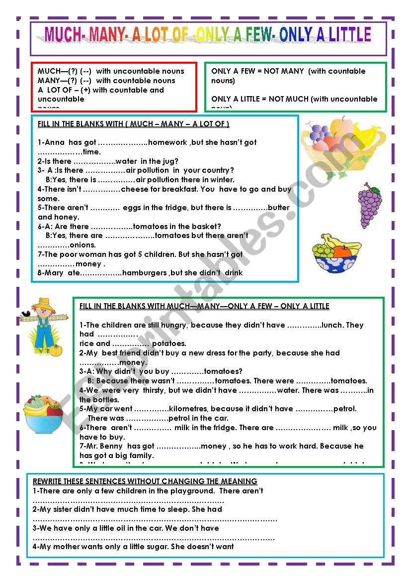 Much Many A Lot Of Only A Little Only A Few Esl Worksheet By Nivida