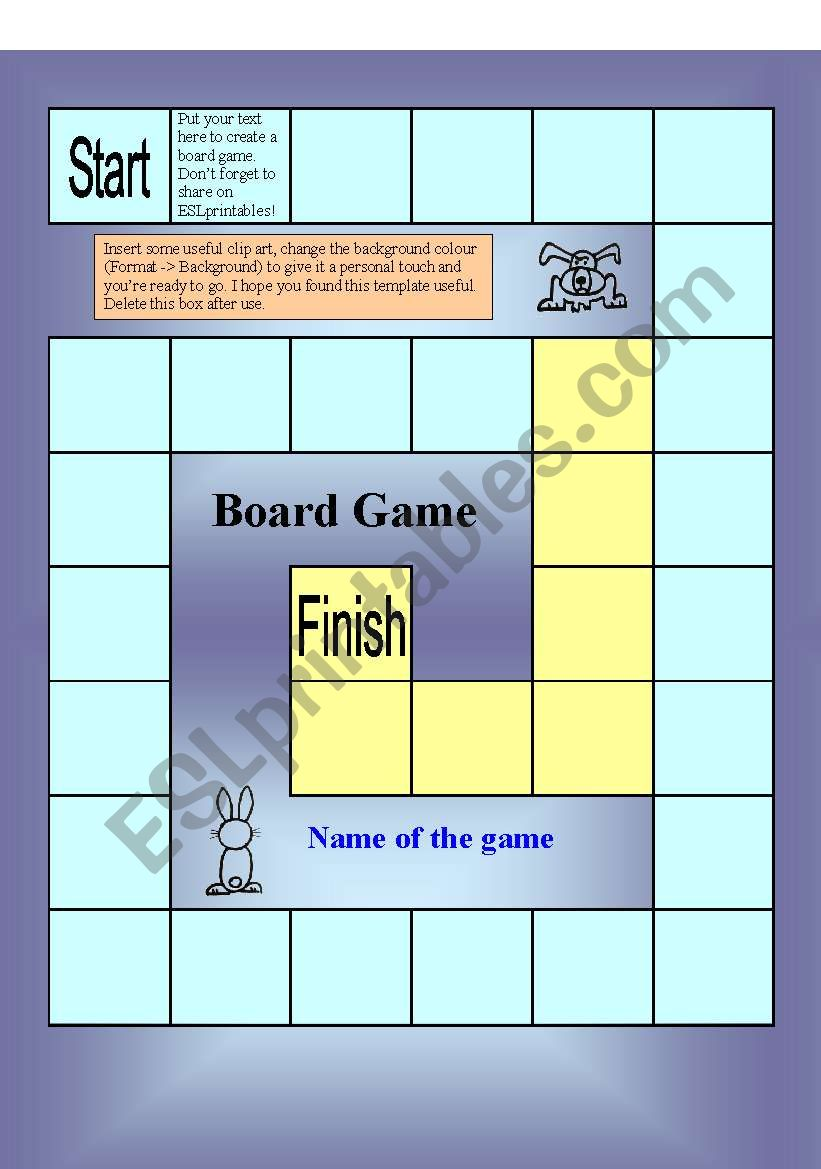 Board Game Template (31 squares) - MAKE YOUR OWN GAME ...
