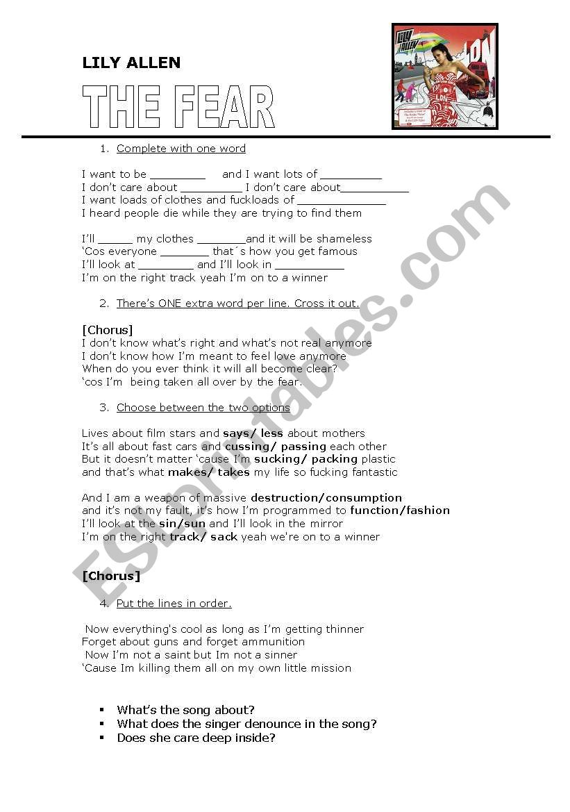 Lily Allen - THE FEAR worksheet