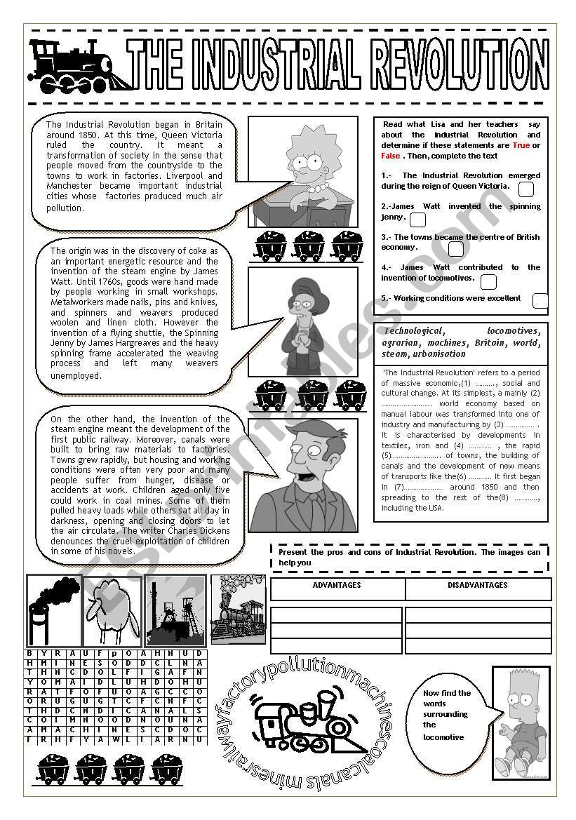 Industrial Revolution And The Simpsons Esl Worksheet By