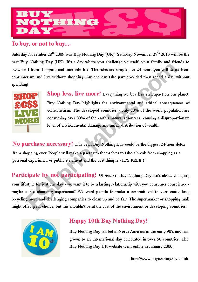 BUY NOTHING DAY (3pages) worksheet
