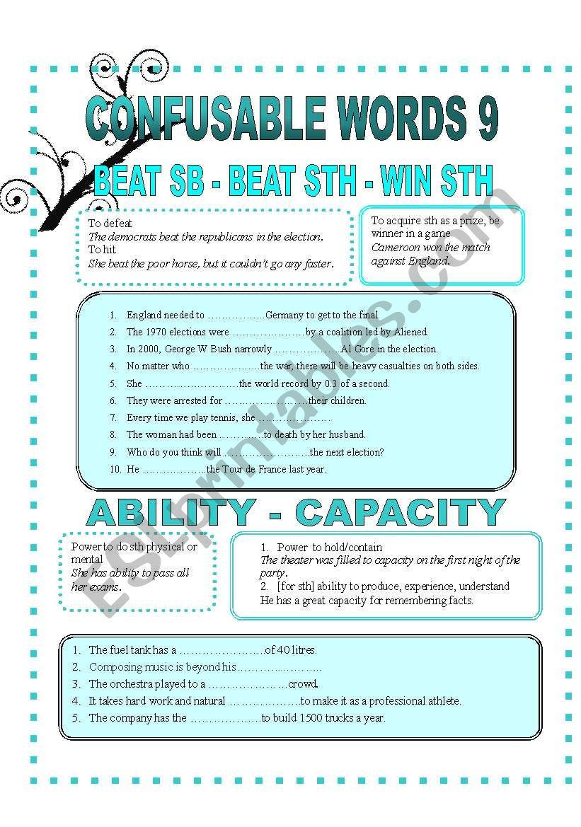 CONFUSABLE WORDS 9-BEAT-WIN-ABILITY-CAPACITY-AVOID-PREET