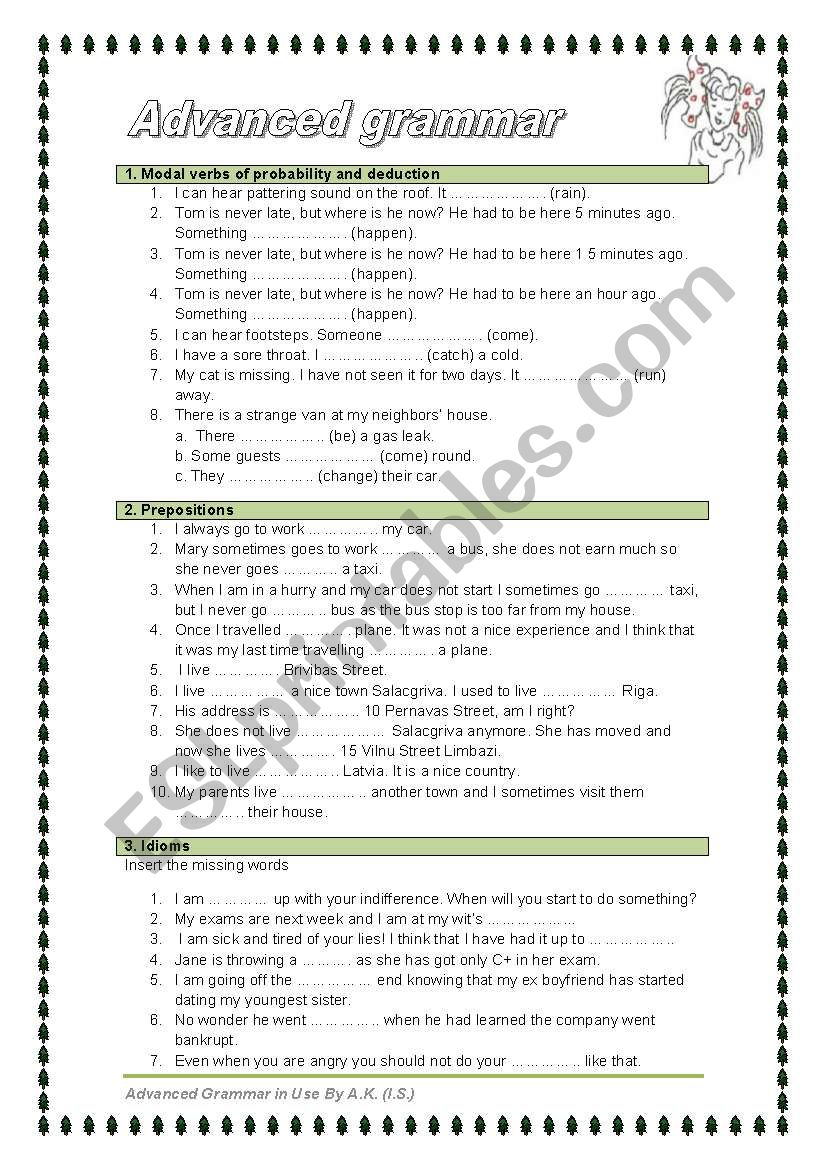 5 pages 12 exercises advanced grammar in use esl worksheet by allakoalla. Black Bedroom Furniture Sets. Home Design Ideas