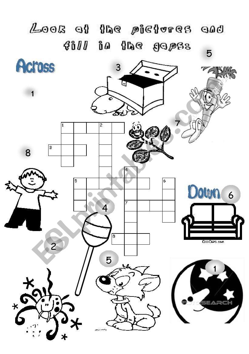 a crossword game to practise some words for young learners