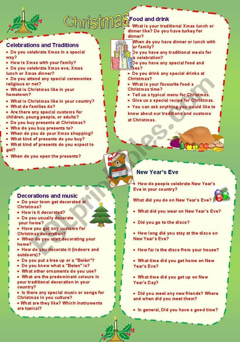 Speaking cards 3  Christmas worksheet