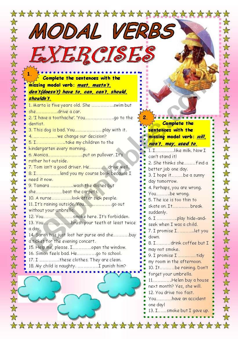 MODAL VERBS EXERCISES worksheet