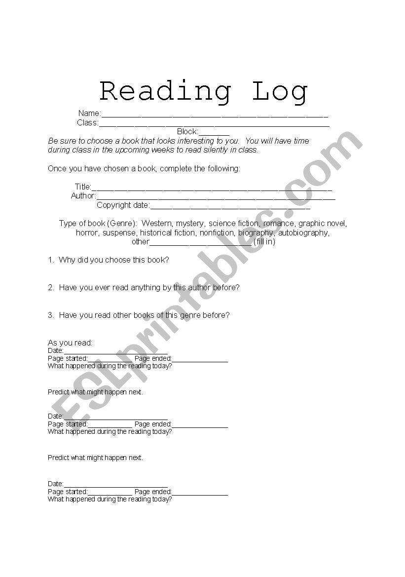 Reading Log worksheet