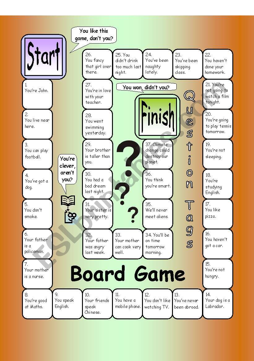 Board Game - Question Tags worksheet