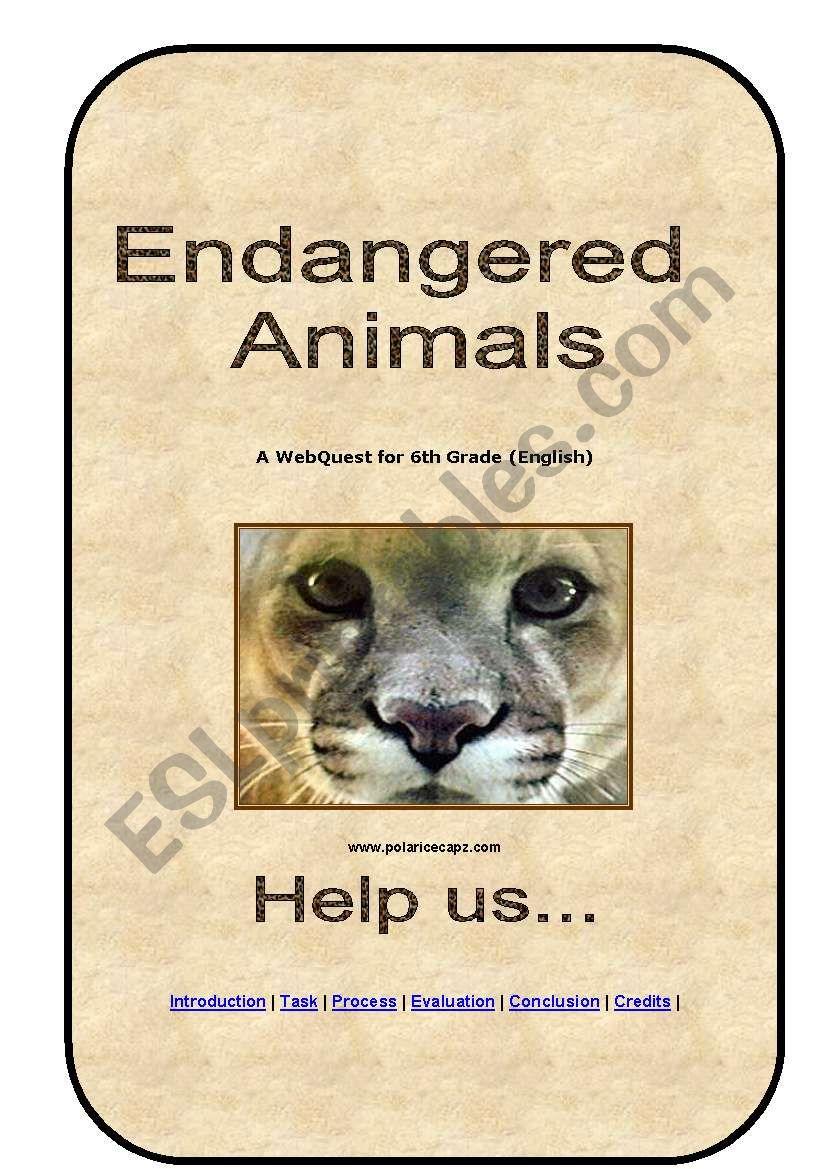 Webquest Endangered Animals worksheet