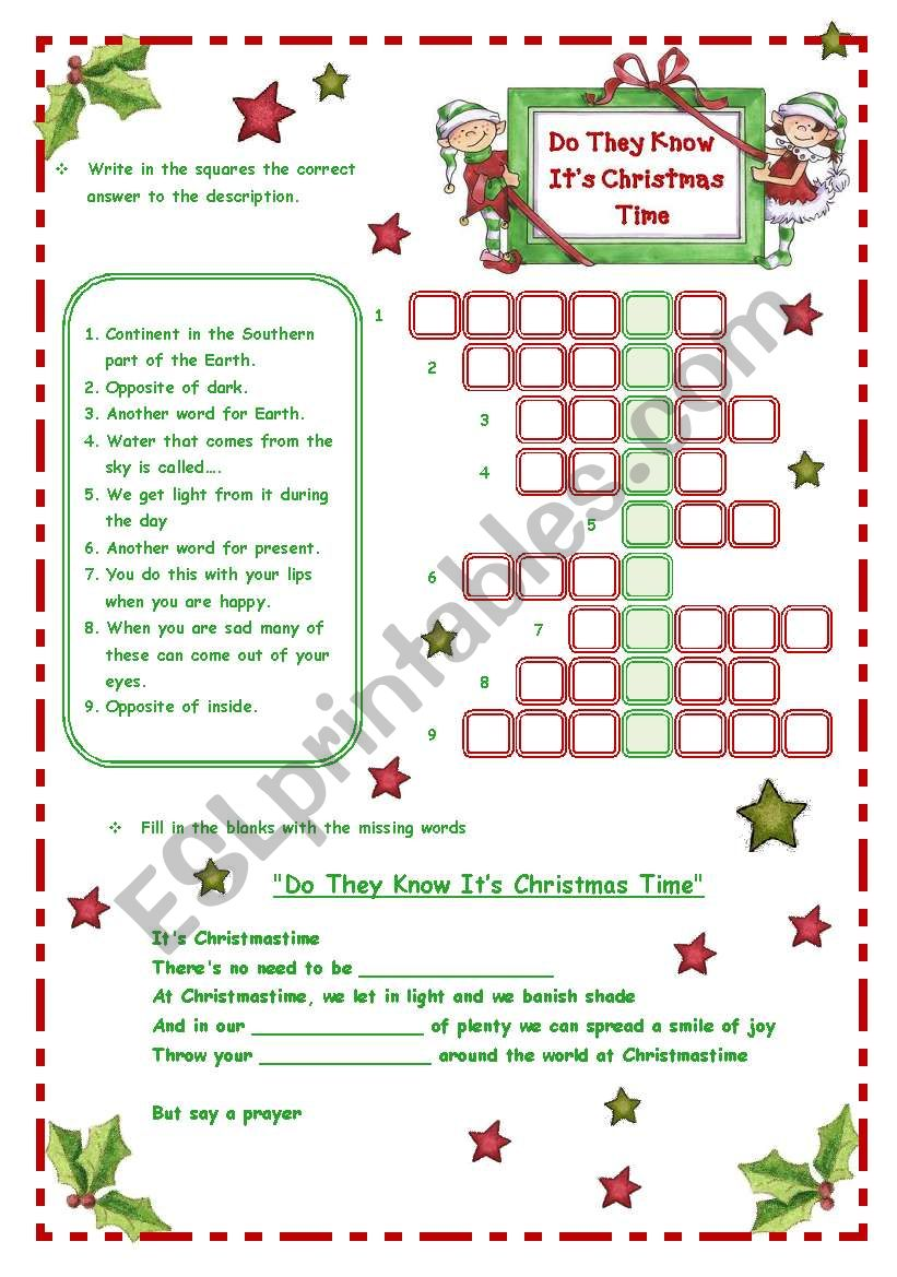 Do They Know It´s Christmas Time - Song *** 3 pages *** - ESL worksheet by blizzard1