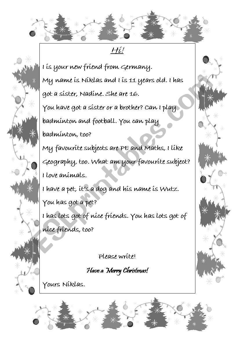 Letter with mistakes worksheet