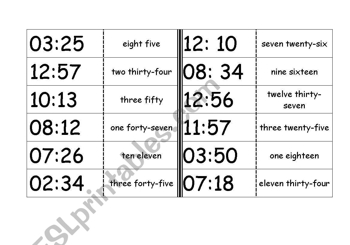 Domino - The Clock worksheet