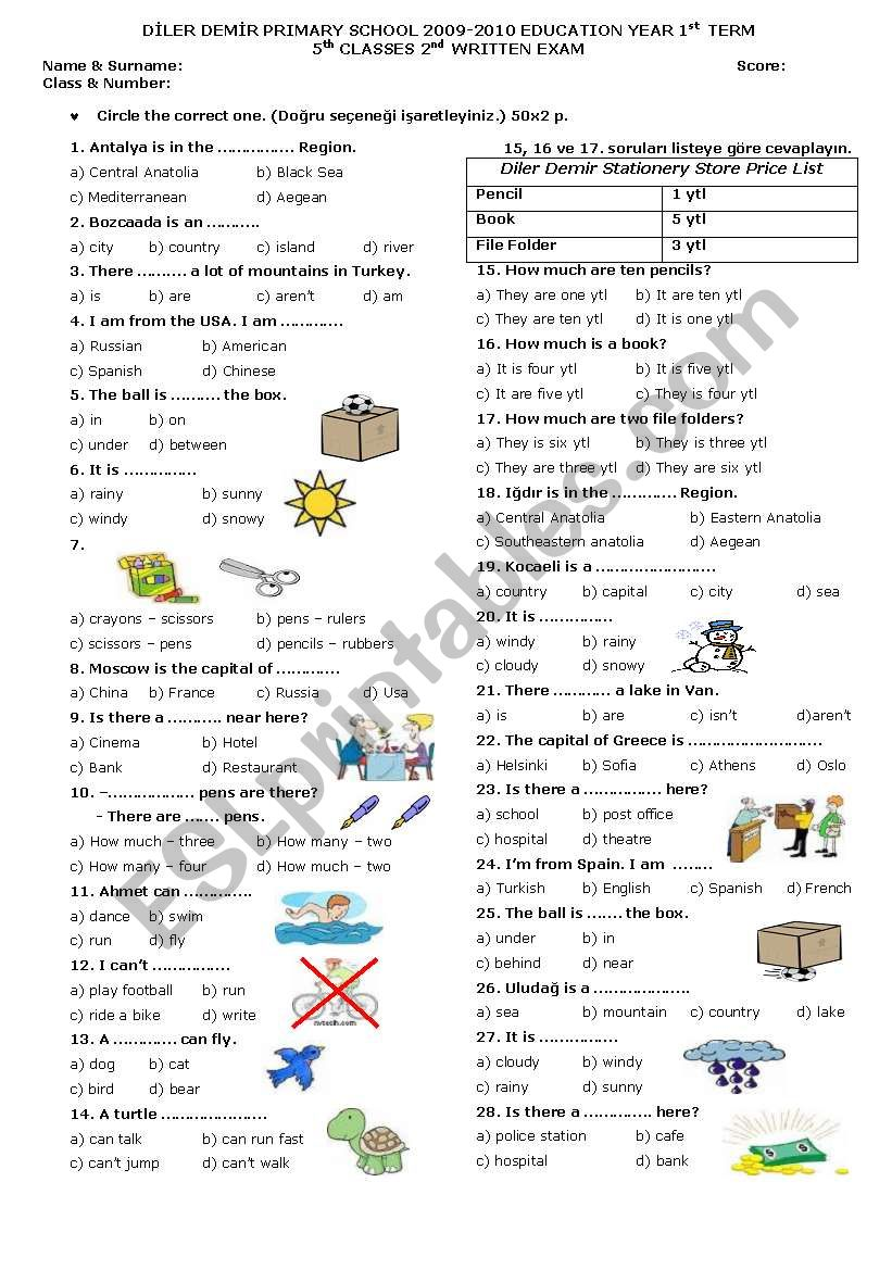 5th Grade 2. Exam worksheet