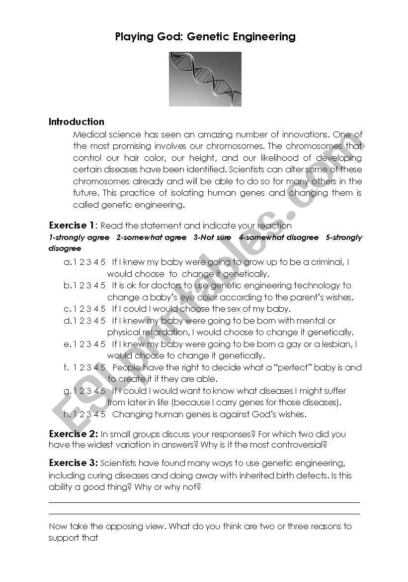 Playing God Genetic Engineering Discussion Starter Esl