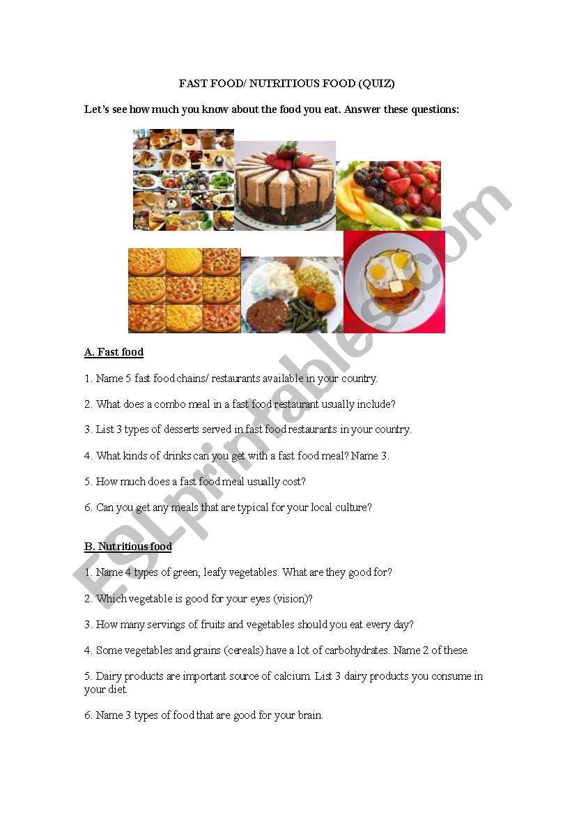 fast food versus healthy food  quiz