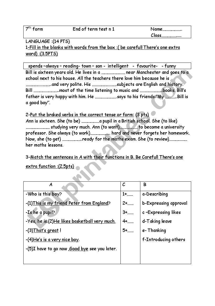english test - ESL worksheet by farousa