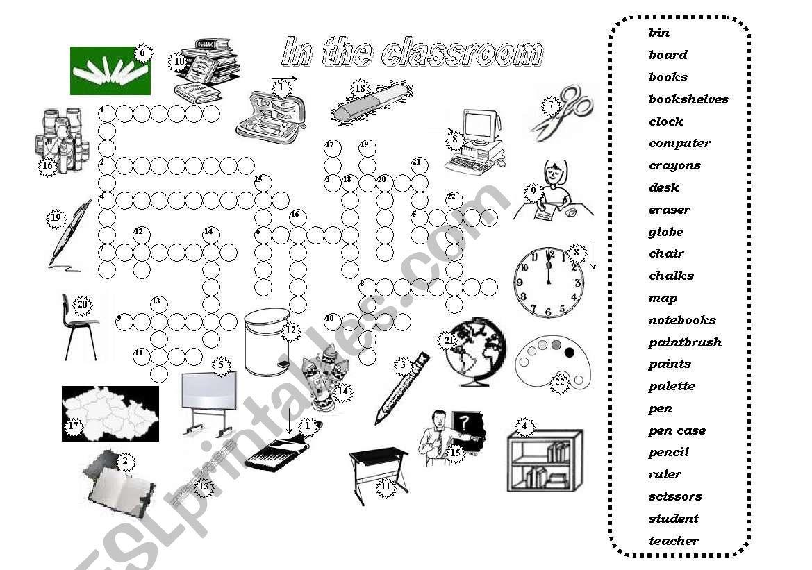 In the classroom - crossword worksheet