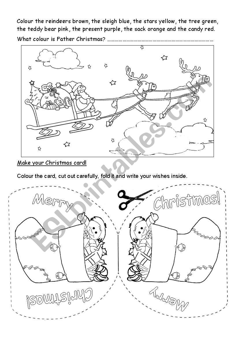 christmas coloring card 1 worksheet