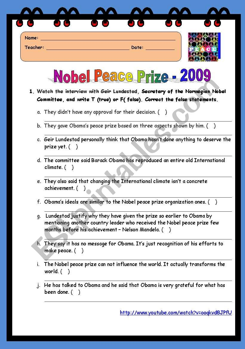 Nobel Peace Prize - 2009  worksheet