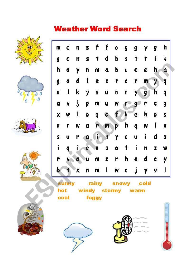 weather word search esl worksheet by nguyenngocanh. Black Bedroom Furniture Sets. Home Design Ideas