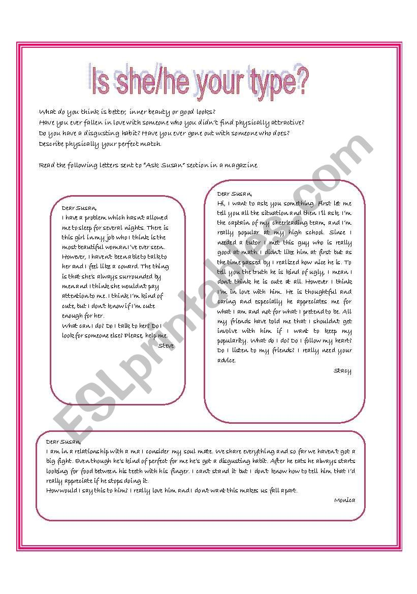 Is he/she your type? 2 pages worksheet